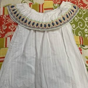 White dress embroidered with colorful leaves!!
